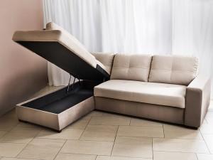 ъглов диван TAOS PROMO с легло и ракла (duomo sand+elephant) лява посока